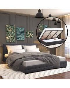 Gas Lift Bed With Headboard Platform Storage Dark Grey Fabric - Double