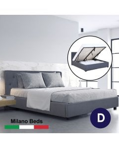 Luxury Gas Lift Bed Frame Base And Headboard  Storage Double Charcoal