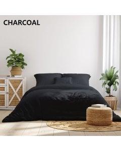 1000TC Hotel Grade Bamboo Cotton  Pillowcases Set King - Charcoal