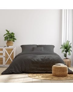 1000TC Hotel Grade Bamboo Cotton Sheets Set Double - Pewter