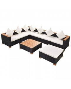 8 Piece Garden Lounge Set With Cushions Poly Rattan Black