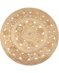 Area Rug Braided Design Jute 120 Cm Round