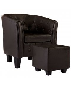 Tub Chair With Footstool Brown Faux Leather