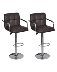 New Bar Stools 2 Pcs Brown Faux Leather