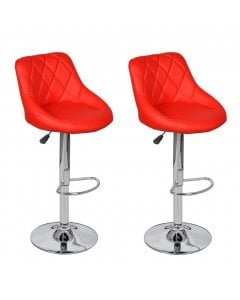 New Bar Stools 2 Pcs Red Faux Leather