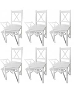 Dining Chairs 6 Pcs White Pinewood