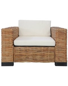 Armchair With Cushions Natural Rattan Brown