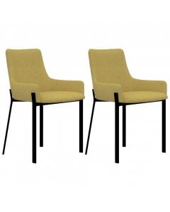 Dining Chairs 2 Pcs Yellow Fabric