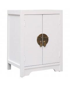 Bedside Cabinet White 38x28x52 Cm Paulownia Wood