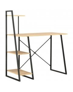Desk With Shelving Unit Black And Oak 102x50x117 Cm