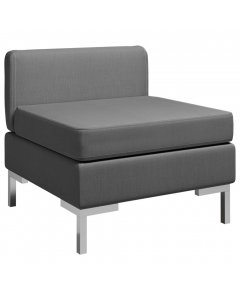 Sectional Middle Sofa With Cushion Fabric Dark Grey