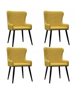 Dining Chairs 4 Pcs Yellow Velvet