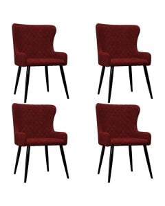 Dining Chairs 4 Pcs Red Velvet