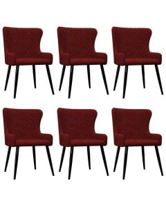 Dining Chairs 6 Pcs Red Velvet