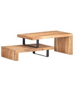 2 Piece Coffee Table Set Solid Acacia Wood