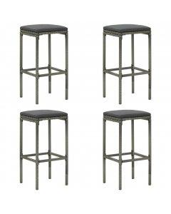 Bar Stools With Cushions 4 Pcs Grey Poly Rattan