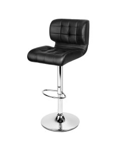 4x Barstools PU Leather Chrome Kitchen Bar Stool Chairs Gas Lift Black