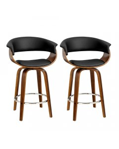 2x Barstools Wooden Swivel Kitchen Dining Chairs PU Leather Black