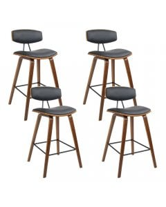 4x Wooden Bar Stools Kitchen Bar Stool Dining Chair Cafe Wood Black