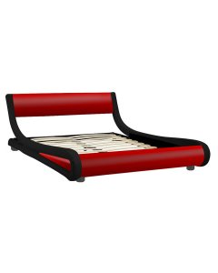 Queen Size Faux Leather Curved Bed Frame - Red