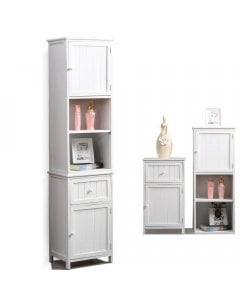 2i1 Bathroom Tallboy Furniture Toilet Storage Cabinet Laundry Cupboard
