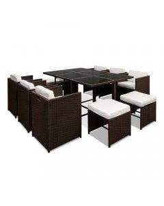 Gardeon 11 Piece PE Wicker Outdoor Dining Set - Brown & White