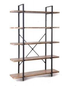 5 Tier Industrial Style Wood and Metal Bookshelves Retro Brown