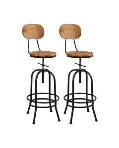 2x Industrial Bar Stools Kitchen Stool Wooden Barstools Swivel Vintage