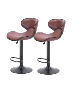 2x Bar Stools Stool Kitchen Chairs Swivel PU Leather Furniture Brown