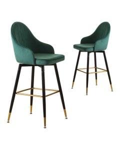 2x Bar Stools Stool Kitchen Chairs Swivel Velvet Barstools  Green
