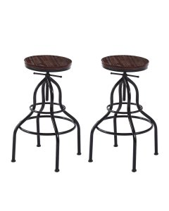 2x Bar Stools Stool Gas Lift Kitchen Wooden Dining Chairs Barstools