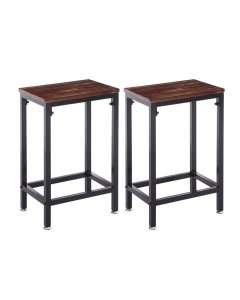 2x Bar Stools Stool Kitchen Wooden Black Chair Dining Metal Barstools