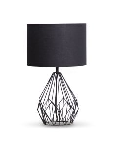 Metal Wire Table Lamp Black Finish with Drum Shade