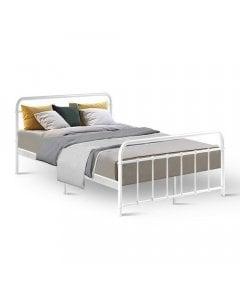 Metal Bed Frame Double Size Platform Foundation Base  White