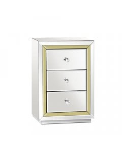 Mirrored Furniture Bedside Table Chest Drawers Gloss Nightstand