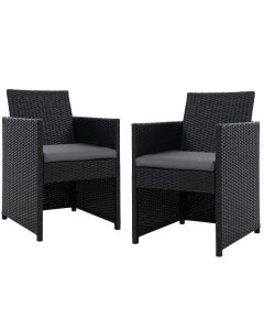 2x Patio Furniture Outdoor Dining Chairs Setting Wicker Cushion
