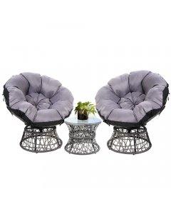 Garden Papasan Chair and Side Table Set- Grey