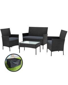 Garden Furniture Outdoor Lounge Setting Wicker Sofa Patio Black