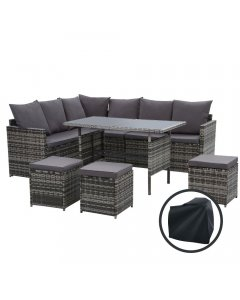 Outdoor Dining Setting Sofa Wicker 9 Seater Storage Cover Mixed Grey